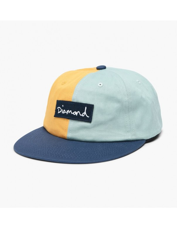 Diamond Split Script Unstructured 6 Panel Cap